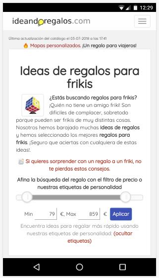 captura de pantalla de indeandoregalos.com